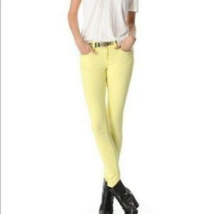Rag and bone canary yellow skinny jean sz 24